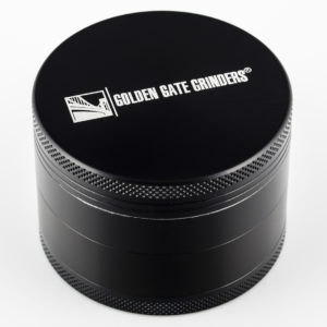 Golden Gate Grinders #1 Best Herb Grinder 2.5 Inch 4-piece Anodized Aluminum with Pollen Catcher – Large Black